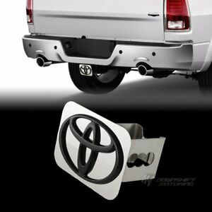 """Black For TOYOTA Logo Stainless Hitch Cover Plug Cap For 2"""" Trailer Tow Receiver"""