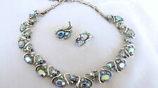 Vintage CORO Signed Oval Aurora Borealis Rhinestone Necklace Clip Earrings Set