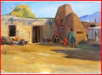1950s Socialist Realism Painting- VILLAGE Russian ARMENIAN listed- E. Abrahamian