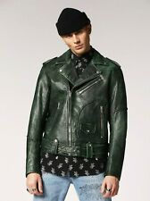 Diesel Leather Biker Jacket L-Grime green color size  2XL new