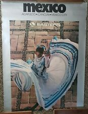 "VINTAGE TRAVEL POSTER~Eastern Airlines 1985 Mexico Cancun Acapulco City 30x40""~"