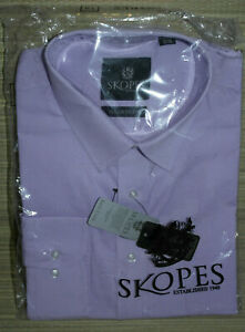 Mens SKOPES LILAC TAYLORED FIT EASY CARE LONG SLEEVE Shirt. Size:18/46 New