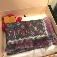 "LOUIS VUITTON LV Stole Shawl Scarf Wool 100% Monogram Unisex Auth New Unused 52"""