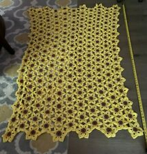 Hand knitted Narcissist flower design Quilt/Afghan, 66 In x 45 In Approx!