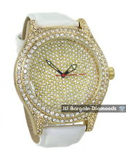 manly big hip hop CZ ice out gold case dial watch white leather clubbing special