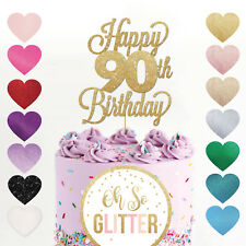 Happy 90th Birthday Cake Topper Ninety Mum Dad Sister Brother Glitter