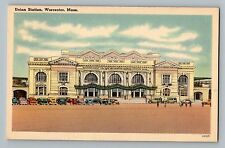 Worcester Massachusetts Ma Union Railroad Train Station Cars View Postcard 1950