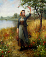 LMOP892 a woman by the river portrait hand painted art oil painting on canvas