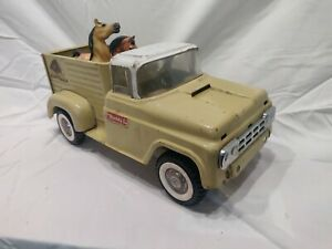 60's Buddy L Ranch Truck tan Early Pressed Steel with horse, good cond. Eco ship