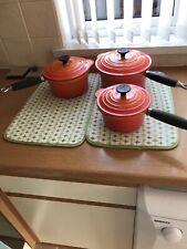 Le Creuset Orange Pots Size 16, 18 And 20