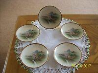 Soko Porcelain Made In Japan Handpainted River Forrest Set Of 4 Dessert Plates