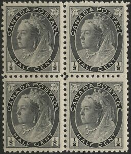 Canada 1898 #77 1/2c black QV Numeral Issue MNH block of 4