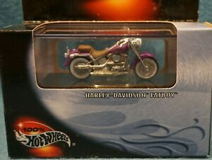 2000 100 % Hot Wheels Harley Davidson Fatboy Motorcycle Purple New Sealed NOS