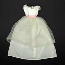 "Genuine Barbie Doll White & Pink Formal Dress Polka Dot Lace Top 9"""