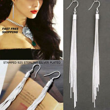 Women Fashion Jewelry 925 Sterling Silver Plated Long Tassel Hook Dangle Earring
