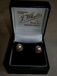 Vintage 9ct Yellow Gold White Pearl Stud Earrings Whytes Rose Street Edinburgh