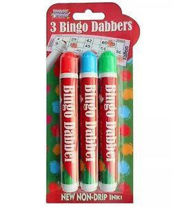 3 X BINGO DABBER MULTI COLOURED DABBERS BINGO MARKERS PENS FOR BINGO TICKETS