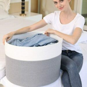 Woven Foldable Hamper Pompom Laundry Washing Dirty Clothes Storage Basket Bin