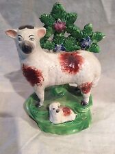 ANTIQUE STAFFORDSHIRE FIGURE OF A SHEEP WITH LAMB