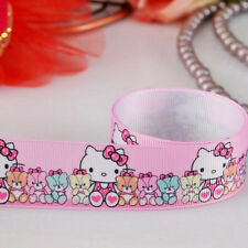 5yds 7/8'' (22mm) Hello Kitty printed grosgrain ribbon Hair bow y728