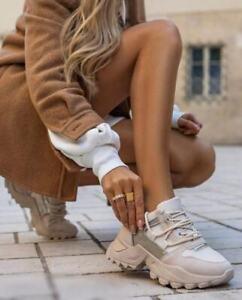 Tan Beige Cream Chunky Fashion Stylish trainers Platform sole Ladies sneakers