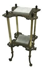 Antique Victorian Brass & Carrara Marble 2 Tier Fern Plant Stand Table, Vintage