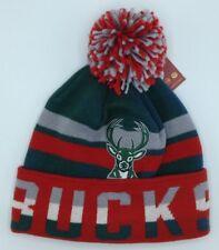 NBA Milwaukee Bucks Adidas Cuffed Pom Winter Knit Cap Hat Beanie Style #KQ43Z