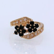 Charm Beauty Double Flowers Black Crystal Champagne Gold Plated CZ Ring Size 8