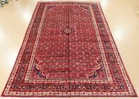 Persian Hamedan Rug Tribal Hand Knotted Wool Red Navy Oriental Carpet 11 x 17