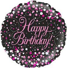 """Happy Birthday"" Sparkling Fizz Pink Black Round Shaped Foil Balloon."