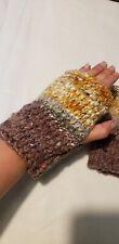 hand dyed, handspun andknit adult Wool purple orange fingerless Mittens