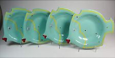 Set of Four Cyclamen Handcrafted Julie Sanders Angelfish Plates / Bowls