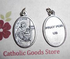 St Aloysius / Pray for Us - Italian Silver tone Oxidized 1 inch Medal