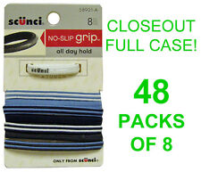 CLOSEOUT! 48 NEW PACKS OF 8 SCUNCI HAIR BANDS,PONYTAIL HOLDERS,BLUE/WHITE/BLACK