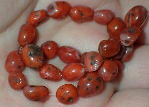25 Very Rare Antique Indo -Tibetan Pema Raka Stone beads, 6-9mm, #S2352