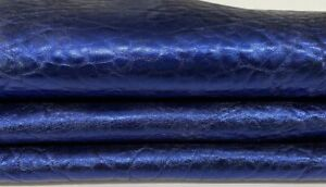 BUBBLY METALLIC OCEAN BLUE vegetable tan Lambskin leather skin 5sqf 1.2mm #A7533