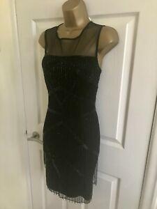 Monsoon Black Sequinned Flapper Tassel Fringe Occasion Mini Party Dress £170 12