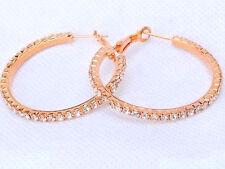 ROSE GOLD PLATED RHINESTONE CRYSTAL HOOP EARRINGS 34MM