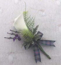 SCOTTISH WEDDING BUTTONHOLE~CALLA LILY/HEATHER/THISTLE~TARTAN RIBBON