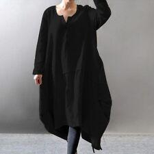 Gr 48 50 52 XXL HEMDKLEID Long Tunika Shirt Lagenlook Vintage Schwarz Gothic 1