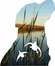 16'' back glass Dog and Duck hunting decal