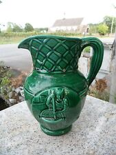 Vintage Green Pottery Glaze Ceramic Pitcher Jug Tre Stella Cheese Canada 9""