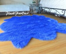 "58"" x 72"" Scallop Sheepskin Royal Blue Area Rug Acrylic Nursery Accents"