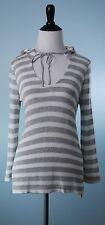 JOIE $328 SOFT JOIE White Silver Gray Stripe Long Sleeve Sweater Hoodie Size M