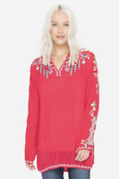 💕JOHNNY WAS Cupra VANESSA BLOUSE Tie Neck EMBROIDERED Top TUNIC Red S $220 💕