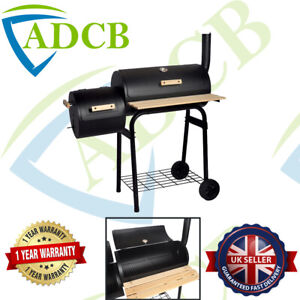 Black Charcoal Grill Barbecue BBQ Grill Offset Smoker with Side Table Garden