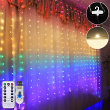 210 LED Rainbow Curtain Lights Hanging Fairy String USB Party Wedding Home Decor