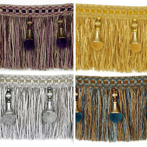 Luxury Exquisite Beaded Tassel Trim Fringe Braid Trimming Pom Pom 4 Colours