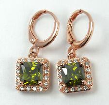 Women's 18 Carat Rose Gold Plated Green  Zircon Huggie drop dangle Earrings