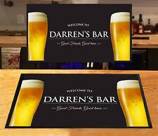 Personalised bar runner Welcome Pint Glasses Beer label bar mat Home bars